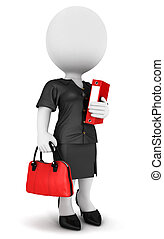 3d white people businesswoman with a file and a handbag,...