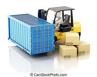 3d White people carrying a cargo container with a forklift.