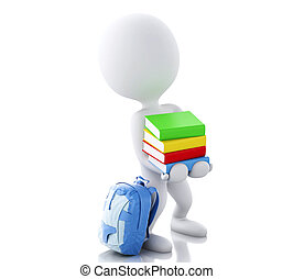 3d White people carrying a stack of books.