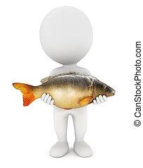 3d white people caught a carp fish