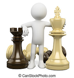 3D white people. Chess - 3d white person with chess pieces,...