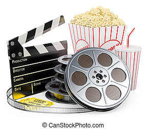 3D white people. Cinema clapper film reel drink and popcorn...