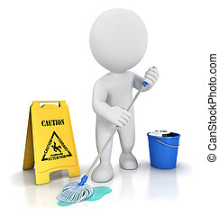 3d white people cleaner with a mop, a bucket and warning ...