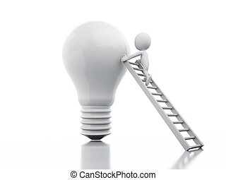 3d white people climbing on light bulb.