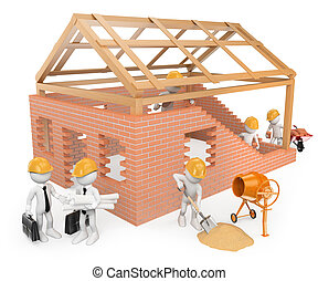 3D white people. Construction workers building a house - 3d...