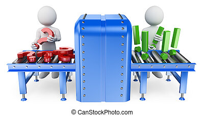 3D white people. Conveyor. Questions and answers concept - ...