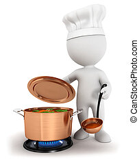 3d white people cooking soup in a copper pan, isolated white...