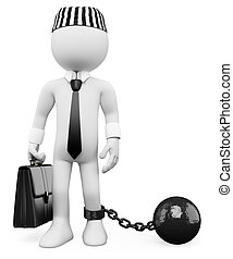 3d white corrupt politician dragging a metal ball. 3d image. Isolated white background.