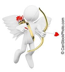 3D white people. Cupid shooting arrows of love