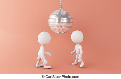 3d White people dancing with disco Ball