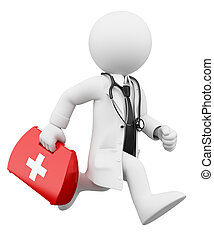 3D white people. Doctor running with a first aid kit