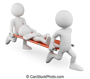 3D white people. Doctors carrying an injured on a stretcher...