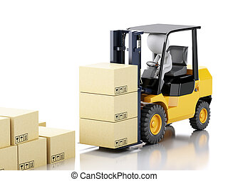 3d white people driving a forklift and cardboard boxes
