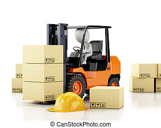 3d white people driving a forklift with boxes
