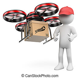 3D white people. Drone delivering a package
