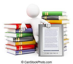 3D white people. Ebook reader concept - 3d white people. Man...
