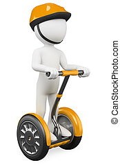3d white person riding on a personal and ecological transport. 3d image. Isolated white background.