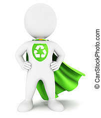 3d white people ecological hero