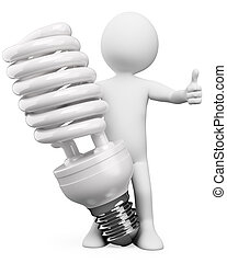 3D white people. Energy saver bulb - 3d white person with a...