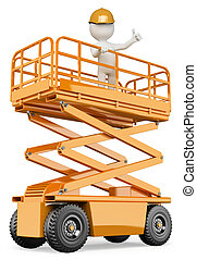 3d white people. Engineer on a lifting platform with a thumb up. Isolated white background.
