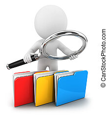 3d white people examines files, isolated white background, 3d image