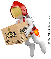 3d white rocket man with hard helmet delivering a express package. 3d image. Isolated white background.