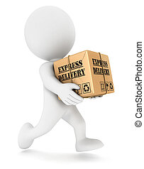 3d white people express delivery, isolated white background, 3d image