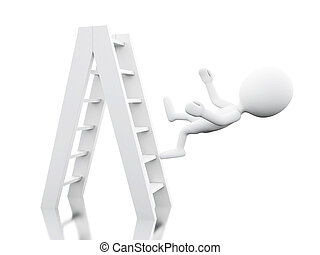 3d White people falling off a ladder