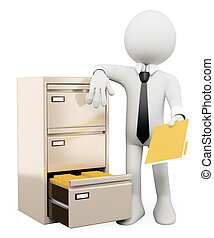 3d white person sorting and filing folders in a file cabinet. Isolated white background.