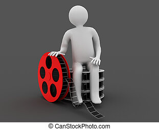 3d white people. Film director with film reels. Isolated black background.
