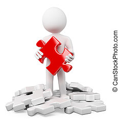 3d white people. Finding red puzzle piece between the white pieces. Isolated white background.