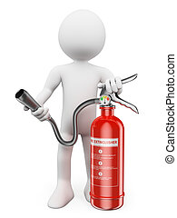 3D white people. Fire extinguisher - 3d white people. Fire...
