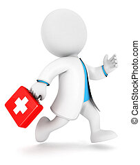 3d white people first aid, isolated white background, 3d image