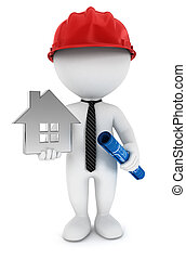 3d white people foreman with blueprint, house and helmet, isolated white background, 3d image