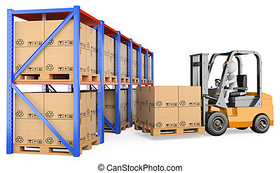3d white person storing a pallet in a warehouse. 3d image. Isolated white background.