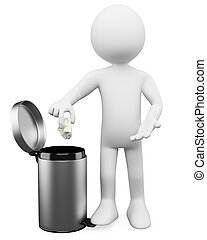 3D white people. Garbage basket - 3d white person throwing a...