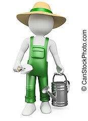 3D white people. Gardener