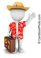 3d white people goes on vacation, isolated white background,...
