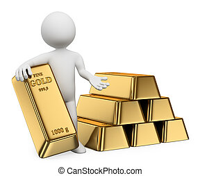 3d white people. Man with lots of gold bullion. Ingots. Isolated white background.