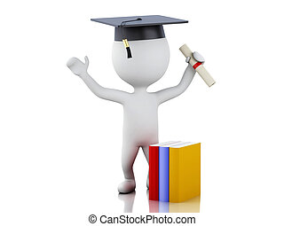 3d white people graduate with diploma, graduation cap.