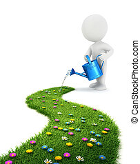 3d white people grass path - 3d white people is watering a...