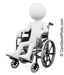 3d white person handicapped in a wheelchair. 3d image. Isolated white background.