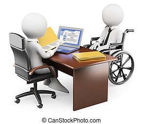 3D white people. Handicapped person in job interview
