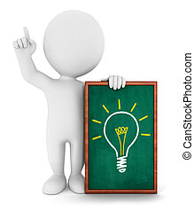 3d white people has an idea, isolated white background, 3d ...