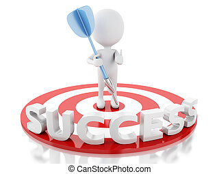 3d white people hit the red target. success in business