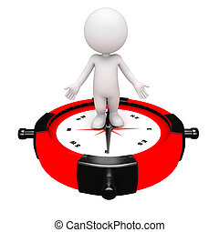 3d white people holding a clock