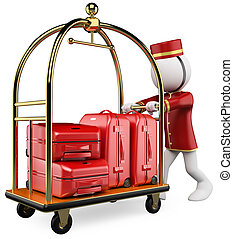3D white people. Hotel luggage cart - 3d white bellhop...