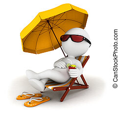 3d white people in vacation lying on a beach chair with...
