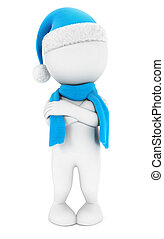 3d white people is cold, isolated white background, 3d image