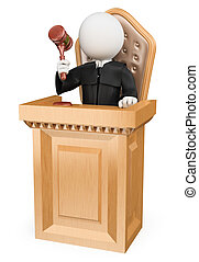 3d white people. Judge sentencing in court. Isolated white background.